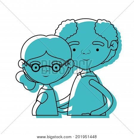 half body elderly couple with grandmother with collected side hairstyle with grandfather with curly hair and glasses in blue watercolor silhouette vector illustration