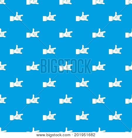 I Love You hand sign pattern repeat seamless in blue color for any design. Vector geometric illustration