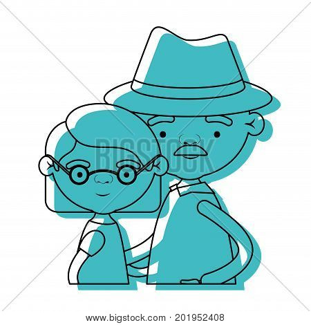 half body couple elderly of grandmother with glasses and short hair with grandfather with hat and moustache in blue watercolor silhouette vector illustration