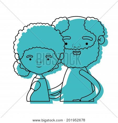 half body couple elderly of grandmother with curly hair with grandfather with beard in blue watercolor silhouette vector illustration