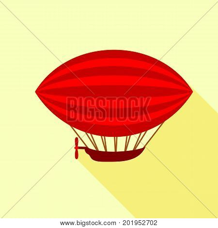 Red airship icon. Flat illustration of red airship vector icon for web