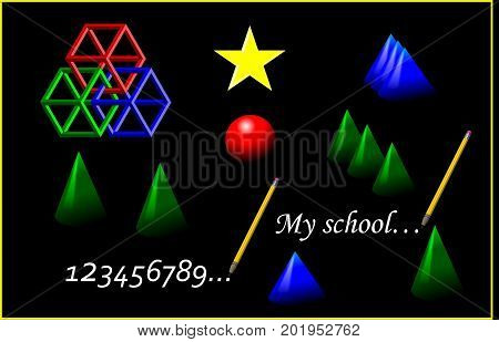 Blackboard. Geometric figures The picture shows a class board with geometric figures. In the middle of the picture is a star that encourages students to be first.