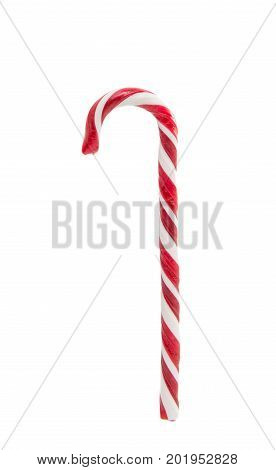 Christmas decoration. Traditional holiday candy cane isolated on white. Red and white stripy candy cane isolated on a white background