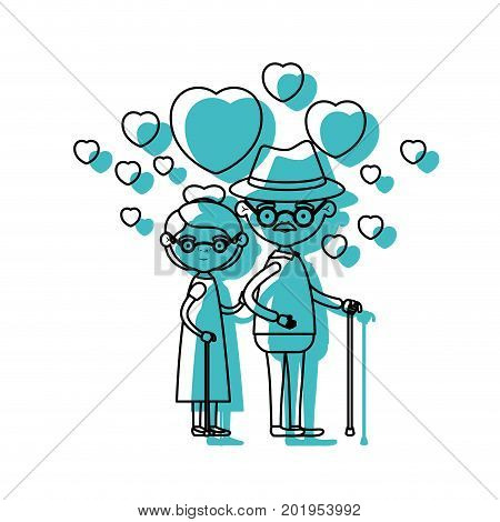 caricature full body elderly couple embraced with floating hearts grandfather with hat in walking stick and grandmother with collected hair and glasses in blue watercolor silhouette vector illustration