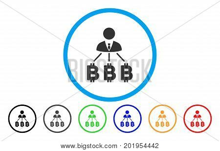 Businessman Bitcoin Expences flat vector illustration for application and web design.