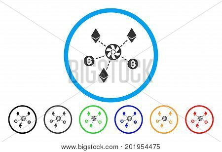 Cryptocurrency Blender Rotor flat vector pictograph for application and web design.