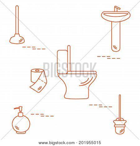Vector Illustration With Toilet Bowl, Washbasin, Toilet Paper, Soap Dispenser, Plunger, Brush For To
