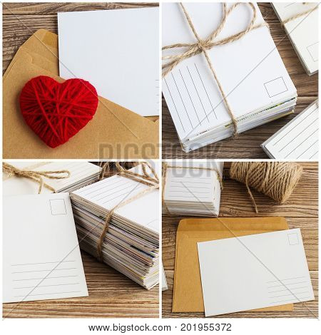 Blank white post cards empty postcard postcrossing Red heart love letter set.