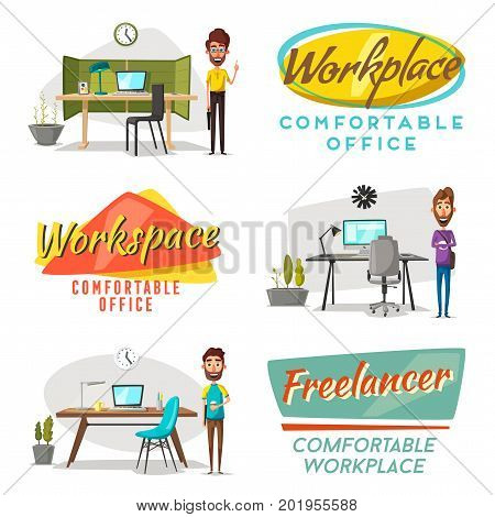 Modern workplaces. Creative characters. Office work. Cartoon vector illustration. Designer workspace. Furniture in interior. For web and banner.