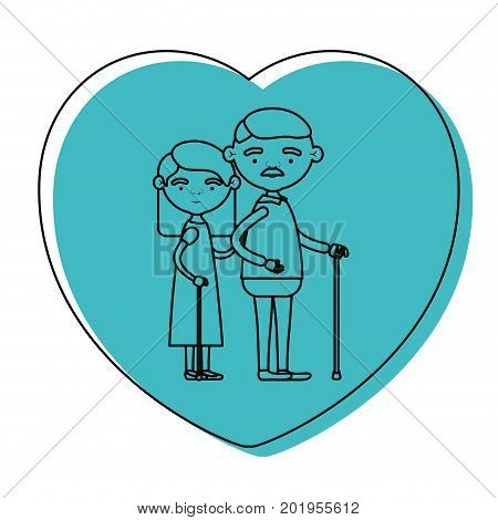 heart shape greeting card with caricature full body elderly couple embraced grandfather with moustache in walking stick and grandmother with straight hair in blue watercolor silhouette vector illustration