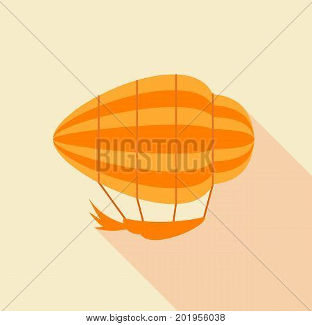 Orange airship icon. Flat illustration of orange airship vector icon for web