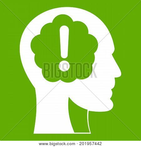 Head with exclamation mark inside icon white isolated on green background. Vector illustration