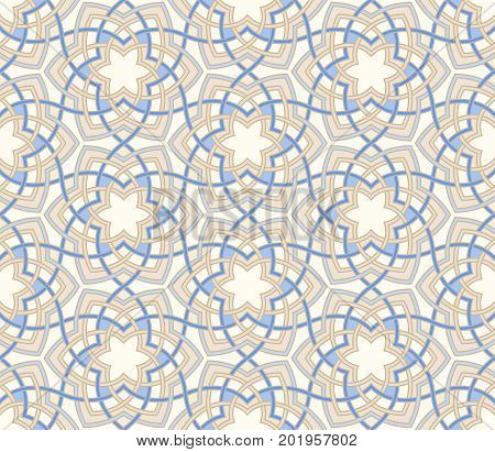 Arabesque floral pattern. Entwined flowers in arabic geometry style. Geometric flowers in seamless vector background. Abstract flowers in oriental arabesque style. Intricated tangled geometric pattern