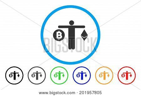 Person Compare Cryptocurrency flat vector pictogram for application and web design.