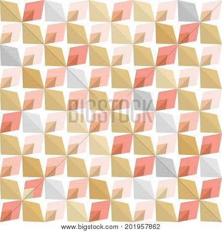 Abstract 70s geometry. Vector seamless pattern. Simple geometric background. Blush pink and rose gold colors.