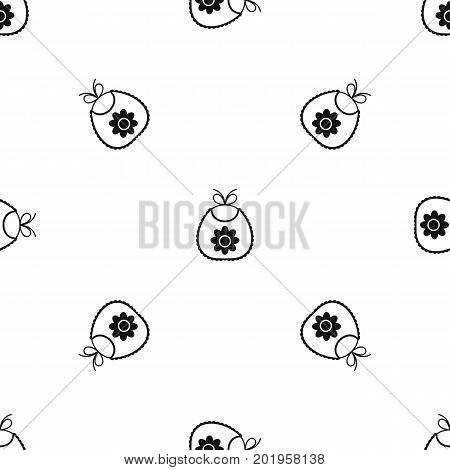 Baby bib pattern repeat seamless in black color for any design. Vector geometric illustration