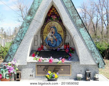 Shrine of centennial of Ukrainian settlersl in Canada near of the Ukrainian Catholic Church of Saint Volodymyr in Thornhill Canada April 17 2017
