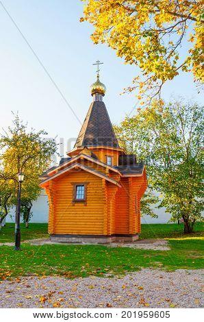 Chapel of St Vladimir - Prince of Novgorod and baptist of Rus in Kremlin in Veliky Novgorod Russia. Autumn landscape of Veliky Novgorod Russia