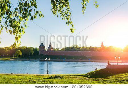 VELIKY NOVGOROD RUSSIA -JUNE 6 2017.Veliky  Novgorod Kremlin at the summer sunset in Veliky Novgorod Russia