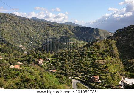 hilly green landscape on italian island Sicily