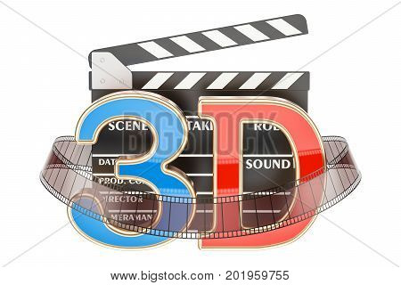 3D cinema concept with movie clapper board 3D rendering