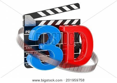 3D cinema concept with movie clapper board 3D rendering isolated on white background