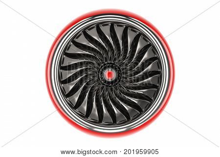 Red jet engine front view. 3D rendering isolated on white background