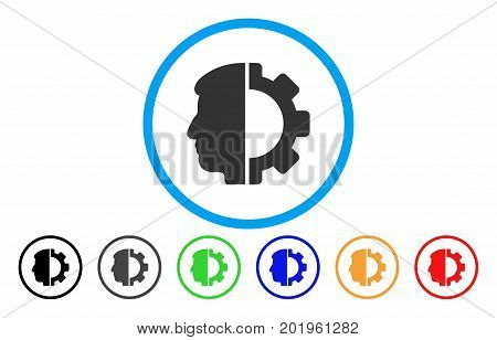 Android Head vector rounded icon. Image style is a flat gray icon symbol inside a blue circle. Bonus color variants are grey, black, blue, green, red, orange.