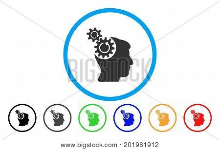 Head Cogs Rotation vector rounded icon. Image style is a flat gray icon symbol inside a blue circle. Additional color variants are gray, black, blue, green, red, orange.