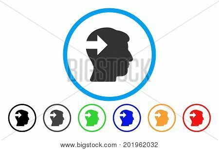 Head Plug-In Arrow vector rounded icon. Image style is a flat gray icon symbol inside a blue circle. Additional color variants are grey, black, blue, green, red, orange.