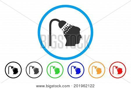 Head Shower vector rounded icon. Image style is a flat gray icon symbol inside a blue circle. Bonus color versions are grey, black, blue, green, red, orange.
