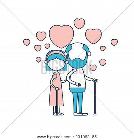 faceless caricature full body elderly couple embraced with floating hearts grandfather in walking stick and grandmother with bow lace and short hair in color section silhouette vector illustration