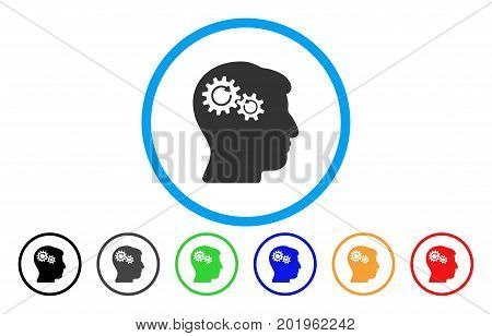 Head Wheels Rotation vector rounded icon. Image style is a flat gray icon symbol inside a blue circle. Bonus color variants are gray, black, blue, green, red, orange.