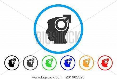 Intellect Potency vector rounded icon. Image style is a flat gray icon symbol inside a blue circle. Bonus color variants are grey, black, blue, green, red, orange.