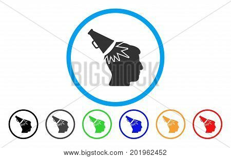 Megaphone Impact Head vector rounded icon. Image style is a flat gray icon symbol inside a blue circle. Additional color variants are gray, black, blue, green, red, orange.