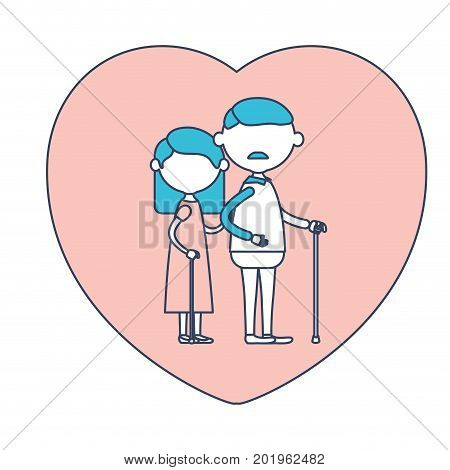 faceless caricature full body elderly couple in heart shape greeting card embraced with grandfather with moustache in walking stick and grandmother with straight hair in color section silhouette vector illustration