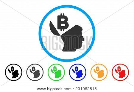 Open Bitcoin Mind vector rounded icon. Image style is a flat gray icon symbol inside a blue circle. Bonus color variants are grey, black, blue, green, red, orange.