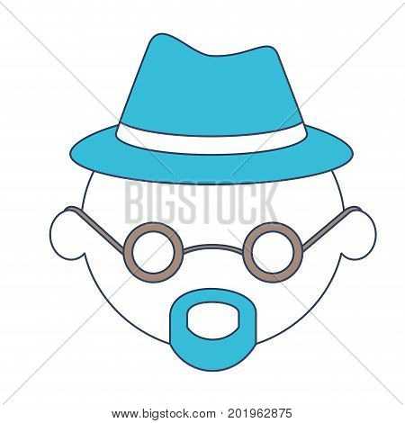 faceless caricature grandfather with hat and glasses with van dyke beard in color section silhouette vector illustration