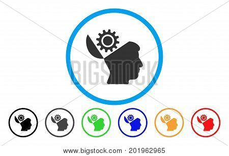 Open Head Gear vector rounded icon. Image style is a flat gray icon symbol inside a blue circle. Bonus color variants are gray, black, blue, green, red, orange.