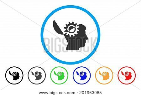 Open Mind Gear vector rounded icon. Image style is a flat gray icon symbol inside a blue circle. Additional color variants are gray, black, blue, green, red, orange.