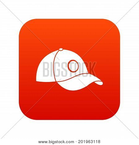 Cap icon digital red for any design isolated on white vector illustration