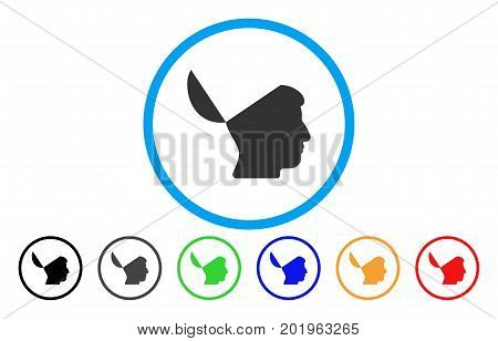 Open Mind vector rounded icon. Image style is a flat gray icon symbol inside a blue circle. Additional color variants are grey, black, blue, green, red, orange.