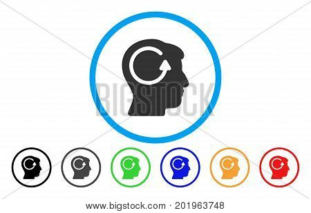 Refresh Head Memory vector rounded icon. Image style is a flat gray icon symbol inside a blue circle. Additional color variants are grey, black, blue, green, red, orange.