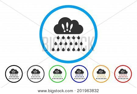 Thunderstorm Rain Cloud vector rounded icon. Image style is a flat gray icon symbol inside a blue circle. Additional color versions are gray, black, blue, green, red, orange.