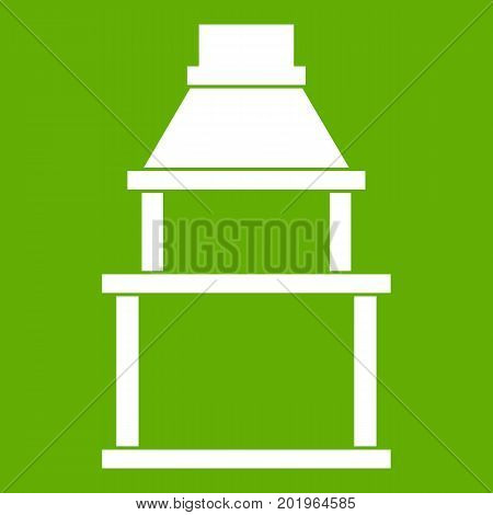 BBQ grill icon white isolated on green background. Vector illustration