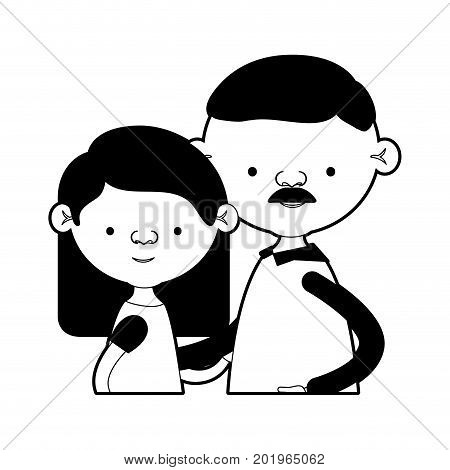 caricature half body couple elderly of grandmother with straight medium hair with grandfather with moustache in black silhouette sections vector illustration