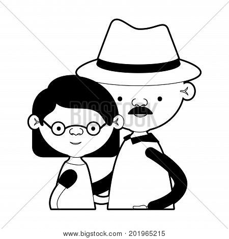 caricature half body couple elderly of grandmother with glasses and short hair with grandfather with hat and moustache in black silhouette sections vector illustration
