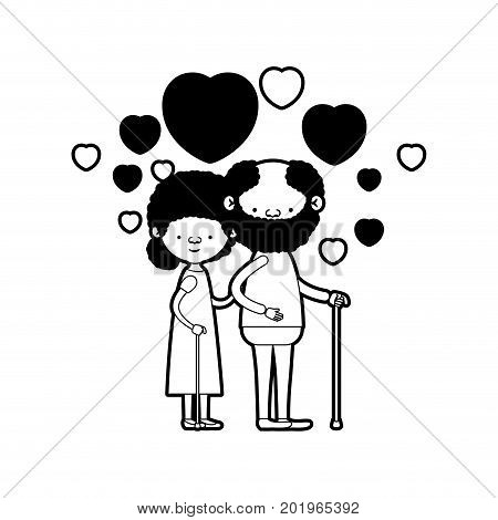 caricature full body elderly couple embraced with floating hearts bearded grandfather in walking stick and grandmother with bun hair in black silhouette sections vector illustration
