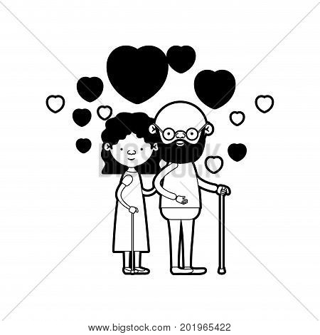 caricature full body elderly couple embraced with floating hearts bearded grandfather in walking stick and grandmother with wavy hair in black silhouette sections vector illustration