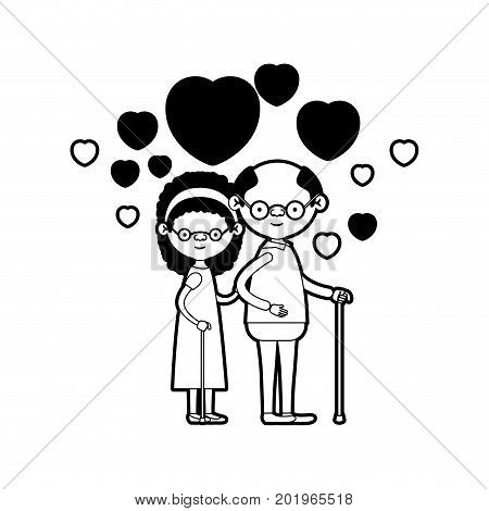 caricature full body elderly couple embraced with floating hearts grandfather with glasses in walking stick and grandmother with bow lace and curly hair in black silhouette sections vector illustration